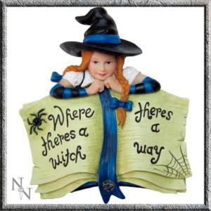 """Diseño de bruja con frase """"donde hay una bruja hay una manera"""""""