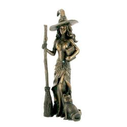 Figura de bruja con gato en bronce