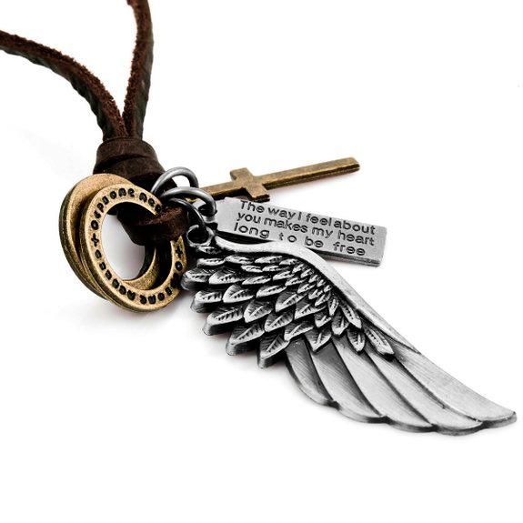 Colgante con ángel y cruz para hombre