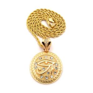 Colgante con medalla y ojo de Horus color oro