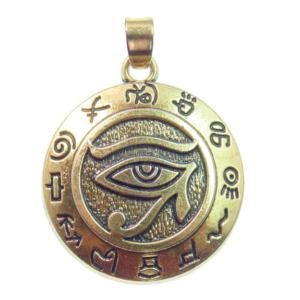 Colgante con ojo de Horus bañado en oro de 18k