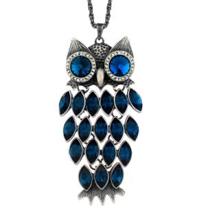 Collar búho cristal austriaco azul