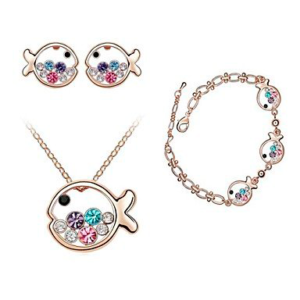Conjunto collar, pulsera, pendientes de peces de la suerte