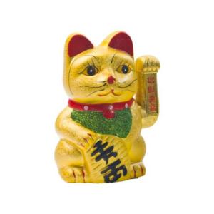 Gato chino dorado. 17,5 cm