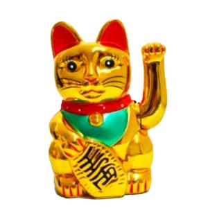 Gato chino dorado brillante. 13 cm