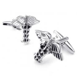 Gemelos con alas de ángel plata