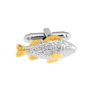 Gemelos de peces color plateado y dorado