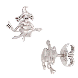 Pendientes de plata 925 con bruja