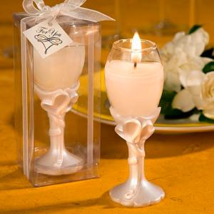 Elegante porta vela y flauta con corazón diseño champán