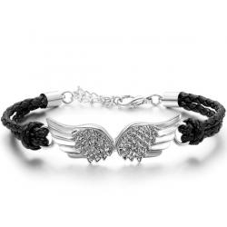 Pulsera con alas de ángel negro y plata