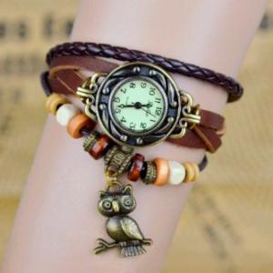 Reloj pulsera búho marrón