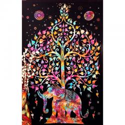 Tapiz árbol elefante multicolor