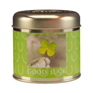 Vela de la suerte en lata verde