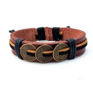 Agathe-Creation-Pulsera-estilo-tibetano-de-cuero-y-camo-incluye-monedas-chinas-de-bronce-talla-nica-hecha-a-mano-color-marrn-y-negro-0