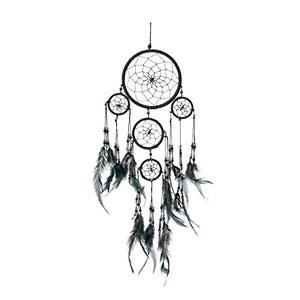 Atrapasueos-hecho-a-mano-negro-con-perlas-de-plata-12-cm-x-35-cm-0