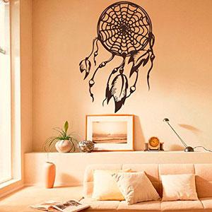 Atrapasueos-plumas-de-indio-los-amuletos-adhesivos-vinilo-pegatina-de-pared-Yoga-gimnasio-Decor-Art-Mural-Interior-diseo-de-dormitorio-dormitorio-Decor-azul-43-H-x29-W-0