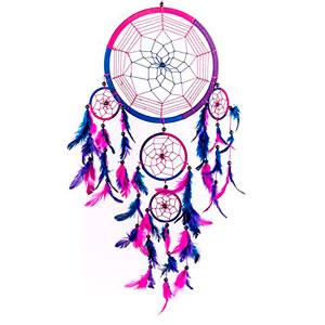 Atrapasueos-tradicional-hecha-a-mano-azul-rosa-y-prpura-22cm-dimetro-60cm-largo-0