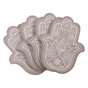 Ethnic-y-elegante-juego-de-4-posavasos-con-forma-de-mano-de-Ftima-con-diseo-de-Mandala-0