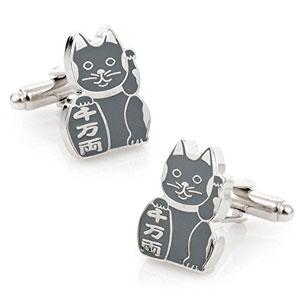 Gemelos-del-gato-de-Maneki-Neko-afortunado-chino-gris-japons-0