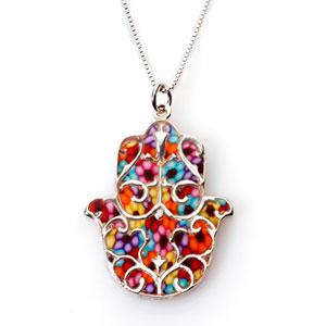 Joya-de-plata-de-ley-con-dije-de-hamsa-y-flor-de-lis-Ideas-para-regalar-a-mujer-Mano-de-Ftima-en-arcilla-polimrica-millefiori-Diseo-floral-multicolor-0