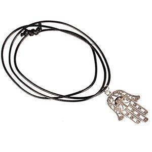 LHWY-Mano-De-Fatima-Charm-Colgante-Collar-Gargantilla-Cadena-Cordon-De-Cuero-Negro-0