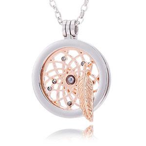 Morella-mujeres-collar-70-cm-acero-inoxidable-y-colgante-amuleto-Coin-33-mm-en-bolsa-para-joyas-0