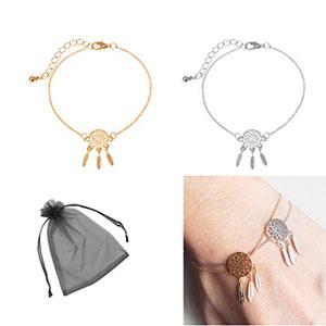 SwirlColor-Oro-plateado-Dreamcatcher-la-pulsera-del-encanto-de-la-mujer-ideal-del-colector-de-joyera-0